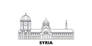 Ligne ensemble de la Syrie d'horizon de voyage Illustration de vecteur de ville d'ensemble de la Syrie, symbole, vues de voyage,  illustration libre de droits