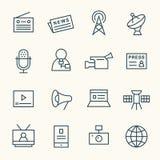 Ligne ensemble de media d'icône Image libre de droits