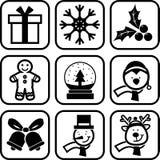 Ligne ensemble de Noël d'icône illustration libre de droits