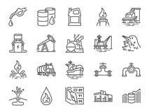 Ligne ensemble de pétrole et de pétrole d'icône Icônes incluses comme puissance, carburant, énergie, station service, pétrole bru illustration libre de droits