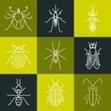 Ligne ensemble de parasite d'icône illustration de vecteur