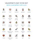 Ligne ensemble de Saint-Valentin d'icône Photographie stock libre de droits