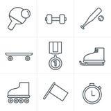 Ligne ensemble de style d'icônes des sports simples monochromatiques Image libre de droits