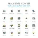Ligne ensemble de thème d'immobiliers d'icône Image libre de droits
