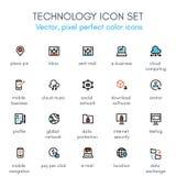 Ligne ensemble de thème de technologie d'icône Photos libres de droits