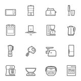 Ligne ensemble de vecteur d'appareils de cuisine d'icône de style Image libre de droits