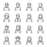 Ligne ensemble de vecteur d'avatar d'icône Contient des icônes telles que l'homme, caractère de femme et plus Course augmentée illustration stock