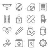 Ligne ensemble de vecteur d'icône Contient des icônes telles que des pilules, Tablette, douleur, calmant, Aspirin, santé et plus illustration libre de droits