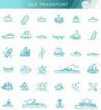 Ligne ensemble de vecteur des bateaux et des bateaux Photos libres de droits