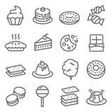 Ligne ensemble de vecteur de dessert d'icône Contient des icônes telles que le petit gâteau, beignet, Macaron, pudding et plus Co illustration libre de droits