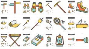 Ligne ensemble de voyage et de vacances d'icône illustration libre de droits