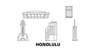 Ligne ensemble des Etats-Unis, Honolulu d'horizon de voyage Illustration de vecteur de ville d'ensemble des Etats-Unis, Honolulu, illustration stock