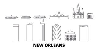 Ligne ensemble des Etats-Unis, la Nouvelle-Orl?ans d'horizon de voyage Illustration de vecteur de ville d'ensemble des Etats-Unis illustration libre de droits