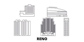 Ligne ensemble des Etats-Unis, Reno d'horizon de voyage Illustration de vecteur de ville d'ensemble des Etats-Unis, Reno, symbole illustration libre de droits