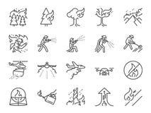 Ligne ensemble du feu de forêt d'icône A inclus les icônes comme tempête de feu, lutte contre l'incendie, sapeur-pompier, s'étein illustration de vecteur