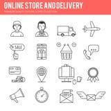 Ligne ensemble en ligne d'icône de vente Images libres de droits