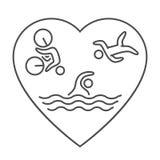 Ligne et logo plat de triathlon Icône nageant, de recyclage et de fonctionnement Photographie stock libre de droits