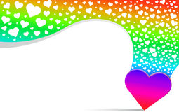 Ligne fond de coeur et d'arc-en-ciel Image libre de droits