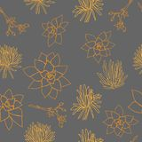 Ligne formes succulente orange sur Gray Background Seamless Repeat Pattern Illustration de Vecteur