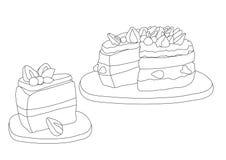Ligne fraise de g?teau sur le fond blanc illustration libre de droits