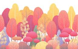 Ligne frontière sans couture horizontale avec Autumn Trees illustration stock
