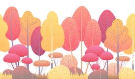 Ligne frontière sans couture horizontale avec Autumn Trees et des buissons illustration de vecteur