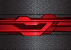 Ligne futuriste noire rouge métallique abstraite de polygone sur le vecteur moderne de fond de technologie de conception de modèl illustration stock