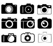 Ligne groupe d'icône d'appareil-photo de collection Photographie stock libre de droits