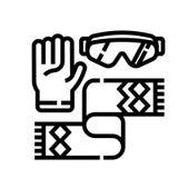 Ligne icône d'accessoires d'hiver illustration de vecteur