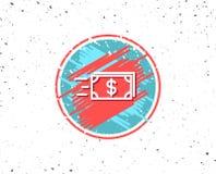 Ligne icône d'argent d'argent liquide de transfert banking Photos stock