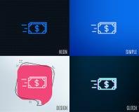Ligne icône d'argent d'argent liquide de transfert banking Illustration de Vecteur