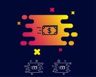Ligne icône d'argent d'argent liquide de transfert banking Illustration Libre de Droits