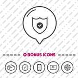 Ligne icône de bouclier de protection Symbole de la défense Photo libre de droits