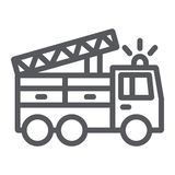 Ligne icône de camion de pompiers, transport et urgence, signe de voiture de sapeur-pompier, graphiques de vecteur, un modèle lin illustration stock