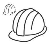 Ligne icône de casque de sécurité dans la construction illustration stock