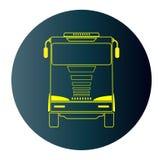 Ligne icône de conception de Front View Truck à l'arrière-plan foncé bleu Images libres de droits