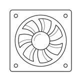 Ligne icône de fan d'air d'ordinateur Illustration de Vecteur
