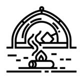 Ligne icône de feu de camp illustration libre de droits