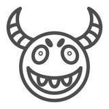 Ligne icône de masque de démon Illustration de vecteur de masque de Halloween d'isolement sur le blanc Conception effrayante de s illustration de vecteur