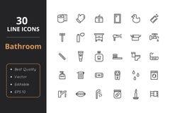 Ligne icône de 30 salles de bains Illustration Stock