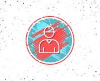 Ligne icône de travailleur Signe masculin de profil Images libres de droits