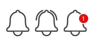 Ligne icône de vecor de cloche de message d'avis illustration de vecteur