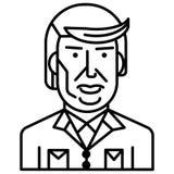 Ligne icône, signe, illustration de vecteur de Donald Trump sur le fond, courses editable Image libre de droits