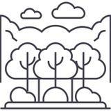 Ligne icône, signe, illustration de vecteur de Forest Park sur le fond, courses editable Photographie stock libre de droits