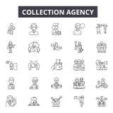 Ligne icônes d'agence de recouvrement pour le Web et la conception mobile Signes Editable de course Concept d'ensemble d'agence d illustration libre de droits