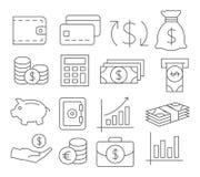 Ligne icônes d'argent Photo stock