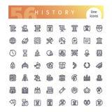 Ligne icônes d'histoire réglées illustration stock
