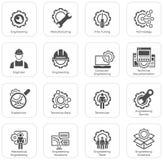 Ligne icônes d'ingénierie Photo stock