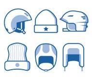 Ligne icônes d'usage de tête de sports d'hiver Photographie stock libre de droits