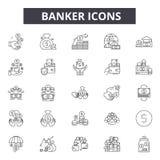 Ligne icônes de banquier pour le Web et la conception mobile Signes Editable de course Illustrations de concept d'ensemble de ban illustration stock